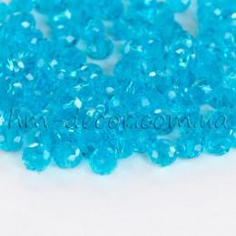 Бусины хрустальные голубой прозрачный глянец 3х4 мм 30 шт.