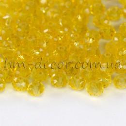 Бусины хрустальные желтый прозрачный глянец 3х4 мм 30 шт.