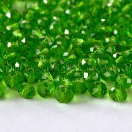 Бусины хрустальные зеленые прозрачные 3х4 мм 30 шт.