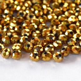 Бусины хрустальные золотое напыление 3х4 мм 30 шт.