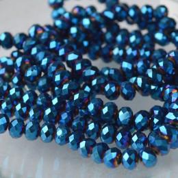 Бусины хрустальные синее напыление 4х6 мм 20 шт.