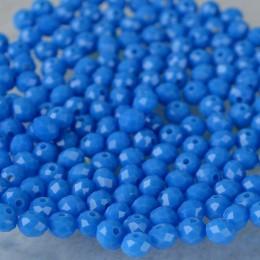 Бусины хрустальные светло-синие непрозрачные 4х6 мм 20 шт.