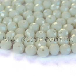 Бусины хрустальные белые непрозрачные 4х6 мм 20 шт.