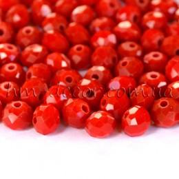 Бусины хрустальные красный непрозрачный глянец 4х6 мм 20 шт.