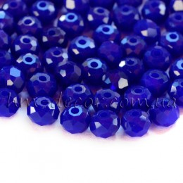 Бусины хрустальные синий непрозрачный глянец 4х6 мм 20 шт.