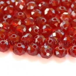 Бусины хрустальные бордовый прозрачный глянец 4х6 мм 20 шт.
