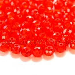 Бусины хрустальные красный прозрачный глянец 4х6 мм 20 шт.
