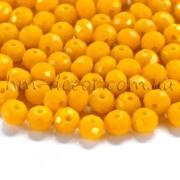 Бусины хрустальные желтый непрозрачный глянец 4х6 мм 20 шт.