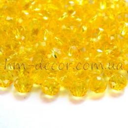 Бусины хрустальные желтый прозрачный глянец 4х6 мм 20 шт.