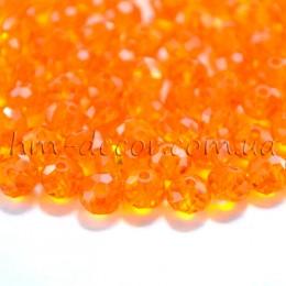 Бусины хрустальные оранжевый прозрачный глянец 4х6 мм 20 шт.