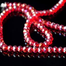 Бусины хрустальные красные прозрачные с АБ 4х6 мм 20 шт.
