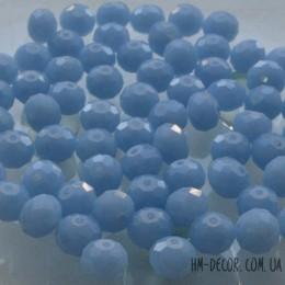 Бусины хрустальные небесно-голубые непрозрачные 6х8 мм 10 шт.