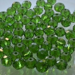 Бусины хрустальные зеленые прозрачные 6х8 мм 10 шт.