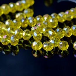Бусины хрустальные желтые прозрачные с АБ 6х8 мм 10 шт.