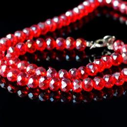 Бусины хрустальные красные прозрачные  6х8 мм 10 шт.