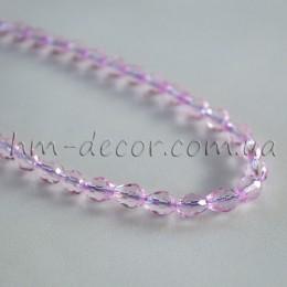 Бусины хрустальные капля розовый прозрачный 5х7 мм 10 шт.