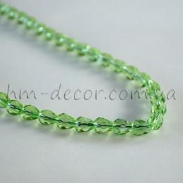 Бусины хрустальные капля зеленый прозрачный 5х7 мм 10 шт.
