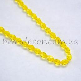 Бусины хрустальные капля желтые прозрачные 5х7 мм 10 шт.