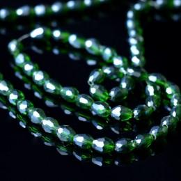 Бусины хрустальные капля бутылочный зеленый с АБ 5х7 мм 10 шт.