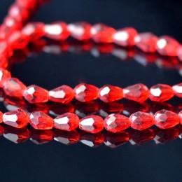 Бусины хрустальные капля красный прозрачный 5х7 мм 10 шт.