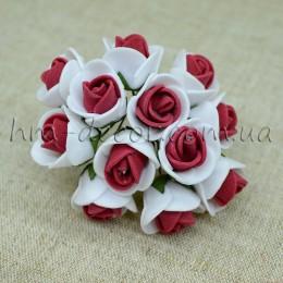 Роза латексная бело-вишневая 12 шт.