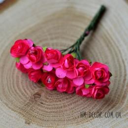 Розочка бумажная ярко-розовая 12 шт.