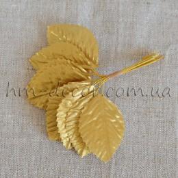 Лист на проволоке золото 10 шт.