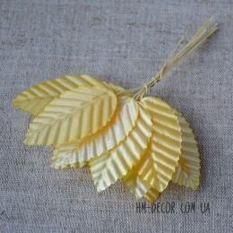 Лист на проволоке желтый 2,5*5 см 10 шт.