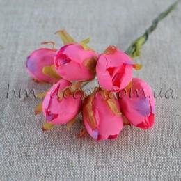 Бутон розовой розочки на проволоке 6 шт.1,5 см