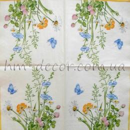 Салфетка для декупажа Полевые цветы 3 33х33 см