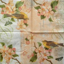 Салфетка для декупажа Птичка на ветке с розовыми цветами 25х25 см