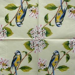 Салфетка для декупажа Птичка на ветке с белыми цветами 25х25 см