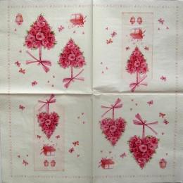 Салфетка для декупажа Сердца из розовых роз 33х33 см