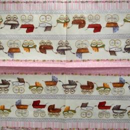 Салфетка для декупажа Детские коляски на розовом 33х33 см