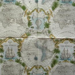 Салфетка для декупажа Карта мира 33х33 см