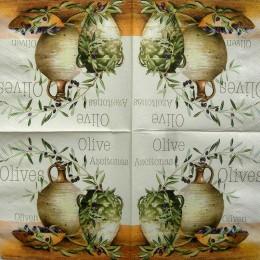 Салфетка для декупажа Оливки в вазе 33х33 см