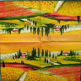 Салфетка для декупажа Пейзаж в желтых тонах 33х33 см