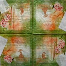 Салфетка для декупажа Розы письма на салатовом 33х33 см