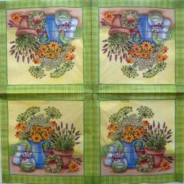 Салфетка для декупажа Полевые цветы в вазах 33х33 см