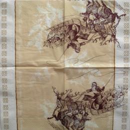Салфетка для декупажа Дед Мороз на оленях монохром 33х33 см