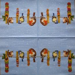 Салфетка для декупажа Птички на веревке с прищепками 33х33 см
