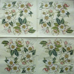 Салфетка для декупажа Белые цветы 33х33 см