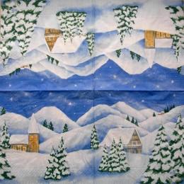 Салфетка для декупажа Домики 002 в горах под снегом 33х33 см