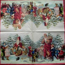 Салфетка для декупажа Дед Мороз 002 с детьми ретро 33х33 см