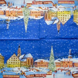 Салфетка для декупажа Новогодняя площадь с елкой 33х33 см