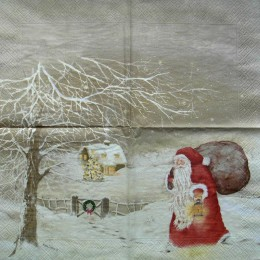 Салфетка для декупажа Дед Мороз с мешком ретро 33х33 см