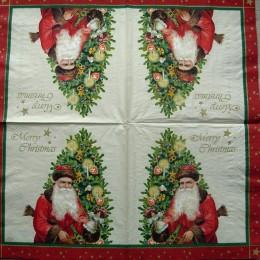 Салфетка для декупажа Дед Мороз возле елки ретро 33х33 см