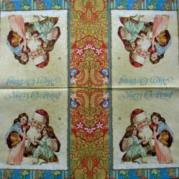 Салфетка для декупажа Дед Мороз с детьми ретро 33х33 см