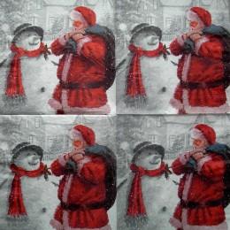 Салфетка для декупажа Санта и снеговик на сером 33х33 см