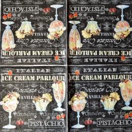 Салфетка для декупажа Ice Cream на черном 33х33 см